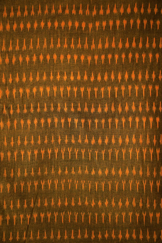 Double Shade Brownish Orange Mercerized Ikat Cotton Fabric