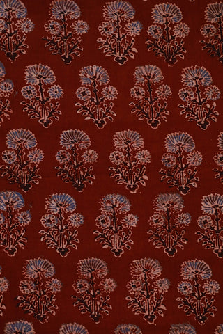 Indigo Daisy Floral in Maroon Ajrak Cotton Fabric