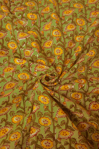 Green with Yellow Floral Sanganeri Block Printed Cotton Fabric