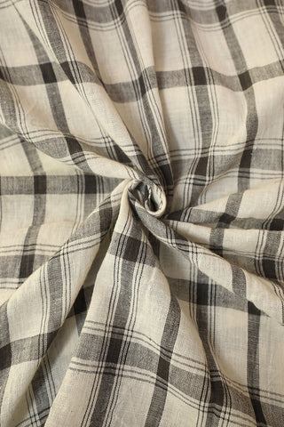 Off-white with Black Checks Handwoven Kala Cotton Fabric