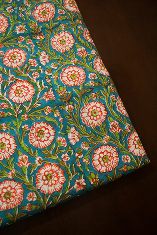 Sky Blue with Peach Flower Sanganeri Block Printed Cotton Fabric