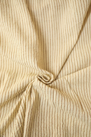 Off White with brown Handwoven Kala Cotton Fabric