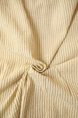 Off White with brown Handwoven Kala Cotton Fabric-0.7 m