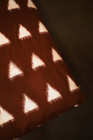 Brown with White Triangle Double Ikat Cotton Fabric
