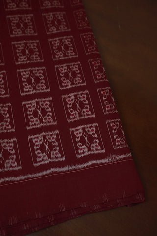 Maroon Intricate Boxes Orissa Ikat Cotton Fabric