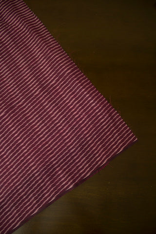 Purplish Maroon Mercerized Ikat Cotton Fabric