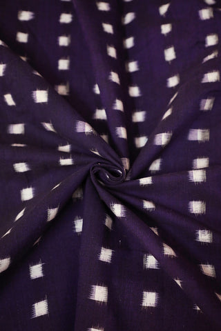 Purple with White Square Double Ikat Cotton Fabric