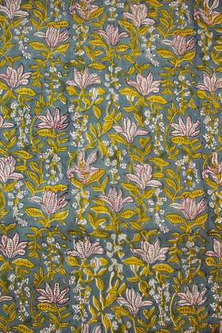 Grey with Yellow Sanganeri Block Printed Cotton Fabric-0.6 m