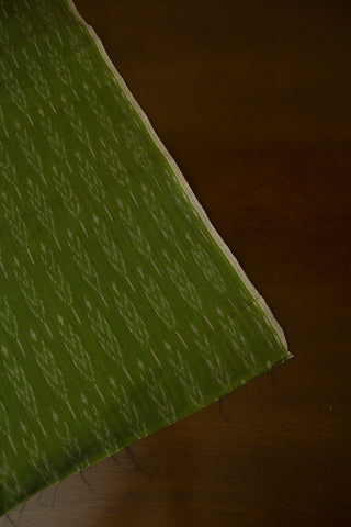 Greyish Green Mercerized Ikat Cotton Fabric