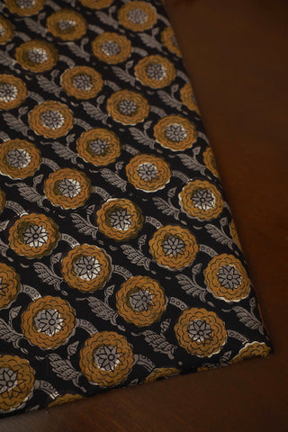 Black  with yellow Block Printed Cotton Fabric