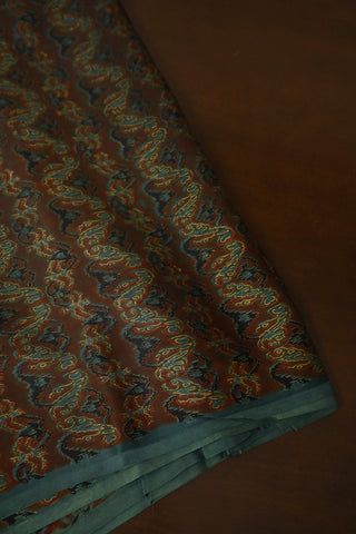 Double Shade Brown with Grey Zigzag Modal Silk Fabric-2 m
