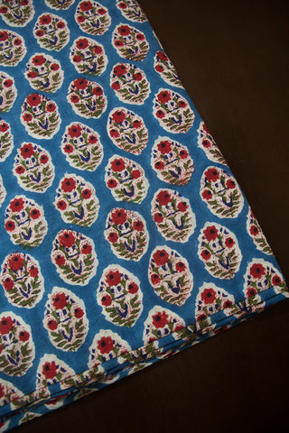 Ramar Blue with Red Flower Bunch Sanganeri Block Printed Cotton Fabric