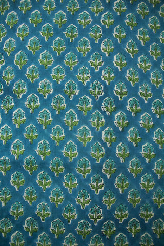 Subdued Blue Floral Sanganeri Block Printed Cotton Fabric