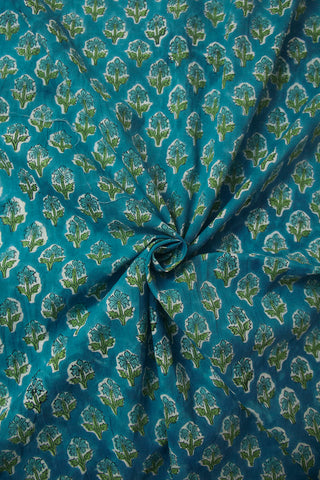 Blue Small Floral Block Printed Sanganeri Cotton Fabric