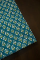 Blue Small Floral Block Printed Sanganeri Cotton Fabric-0.5 m