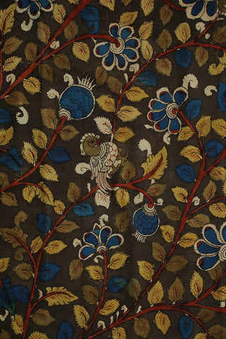 Dark Grey Floral Painted Kalamkari Cotton Fabric
