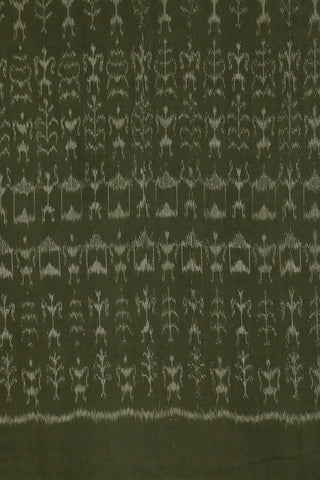 Olive Grey Warli Design Orissa Ikat Fabric