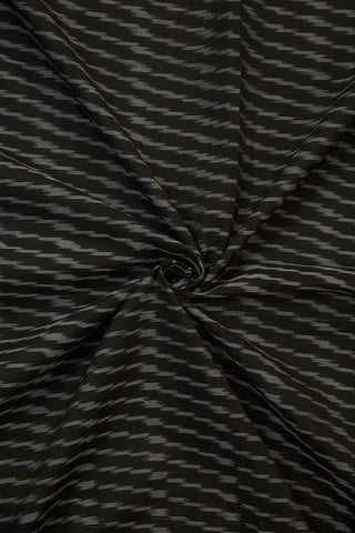Black with Grey Lines Mercerized Ikat Cotton Fabric