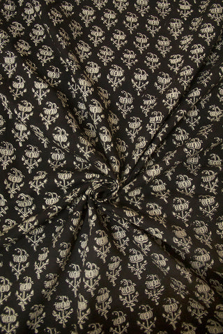 Black with Beige Floral Bagru Block Printed Cotton Fabric