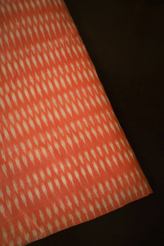 Orangish Peach Mercerized Ikat Cotton Fabric