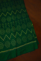 Green with yellow Floral Orissa Ikat Cotton Fabric