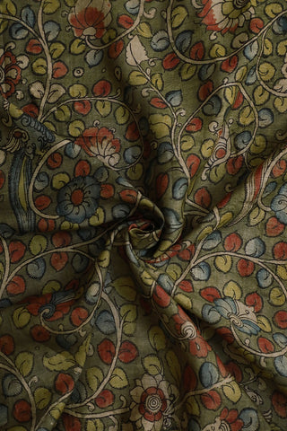 Dull Green Floral Painted Kalamkari Raw Silk Fabric