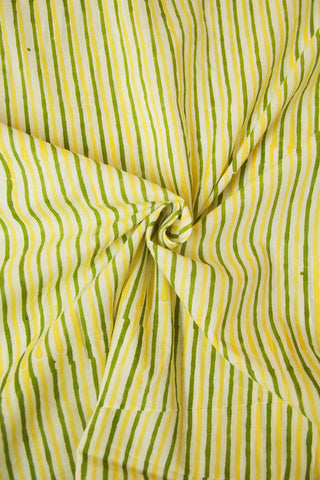 Off White with Green and Yellow Lines Sanganeri Cotton Fabric