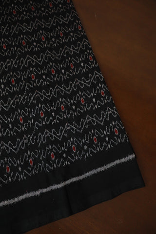 Intricate Black Orissa Ikat Cotton Fabric