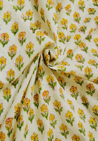 White with Yellow Floral Sanganeri Block Printed Cotton Fabric