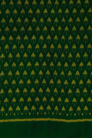 Green with Yellow Triangle Orissa Ikat Cotton Fabric
