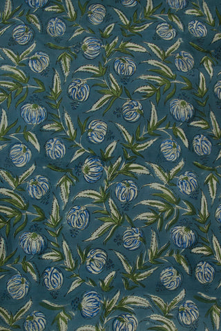 Faded Blue with Green Sanganeri Block Printed Cotton Fabric-1.4 ,