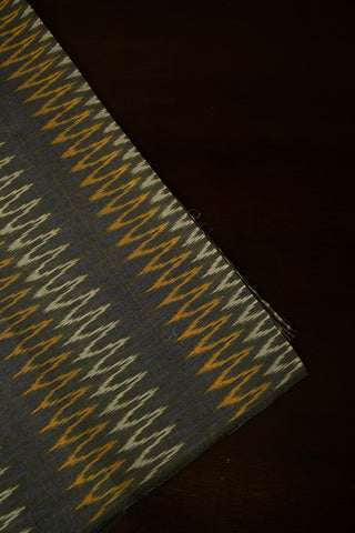Grey with Multi Colour Zig Zag Mercerized Ikat Fabric