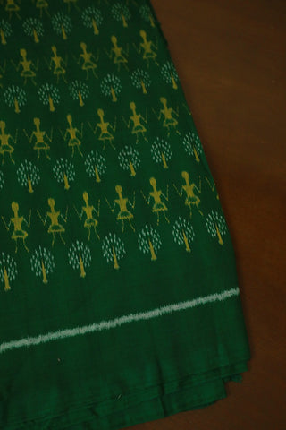 Green with yellow Warli Design orissa Ikat Fabric