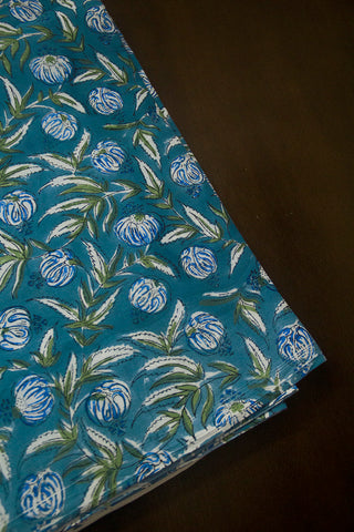 Faded Blue with Green Sanganeri Block Printed Cotton Fabric