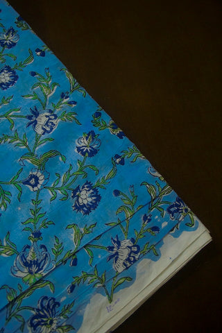 Blue with Green Floral Sanganeri Block Printed Cotton Fabric