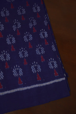 Trees in Blue Orissa ikat Cotton Fabric
