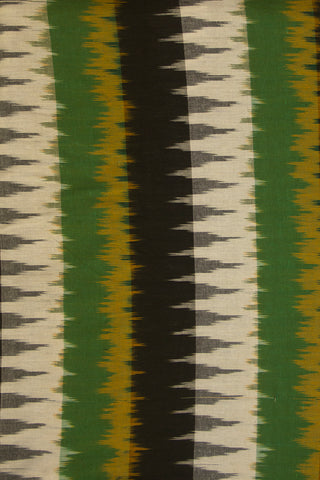 Green with Black Handwoven Ikat Cotton  Fabric