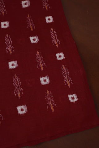 Pinkish Maroon Double Ikat Cotton Fabric