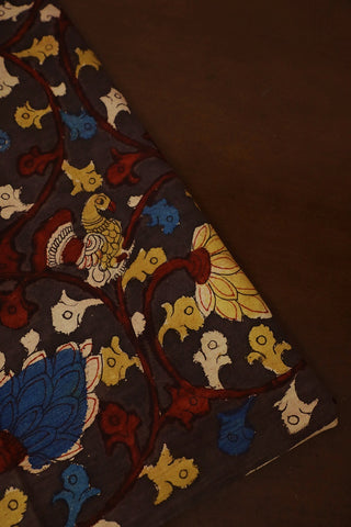 Elephant Grey Painted Kalamkari Cotton Fabric