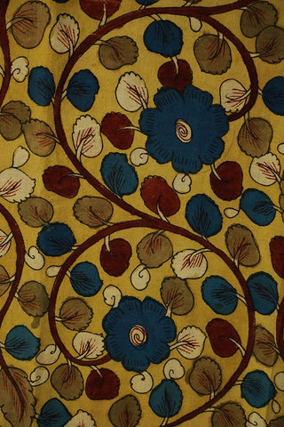 Blue with Maroon Floral Painted Kalamkari Cotton Fabric