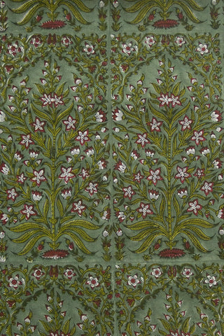 Pink with Green Intricate Plant Sanganeri Cotton Fabric