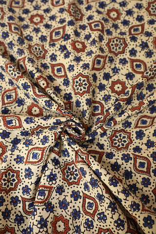 Offwhite with Blue Ajrak Cotton Fabric