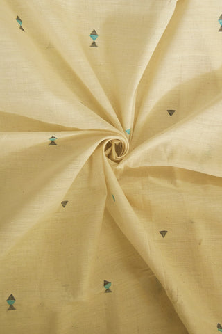 Off white with Small Fish Buta Handwoven Khadi Cotton Fabric