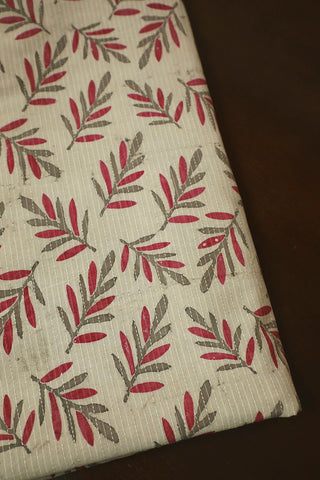 Stripes with Leaves Kantha Stitch Cotton Fabric-0.5 m