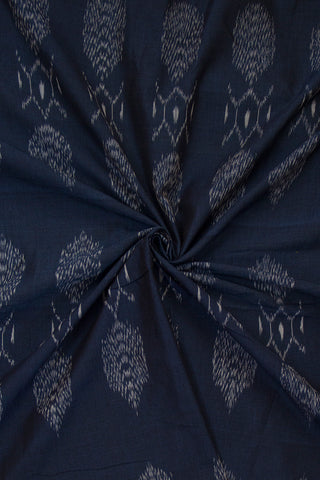 Blackish Blue Mercerized Ikat Cotton Fabric