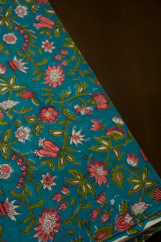 Blue with Pink Floral Sanganeri Block Printed Cotton Fabric