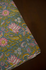 Grey with Pink Lotus Sanganeri Block Printed Cotton Fabric-0.6 m