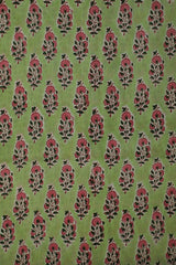 Light Green with Pink Block Printed Sanganeri Cotton Fabric