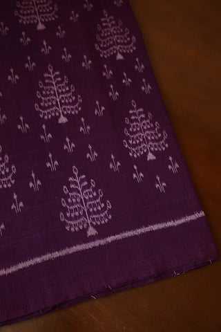 Trees in Purple Orissa Ikat Cotton Fabric