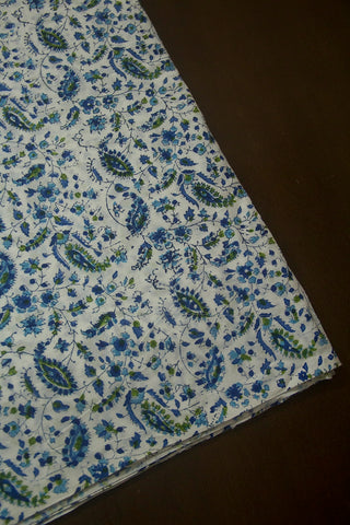 Off White with Blue Paisley Floral Sanganeri Block Printed Cotton Fabric